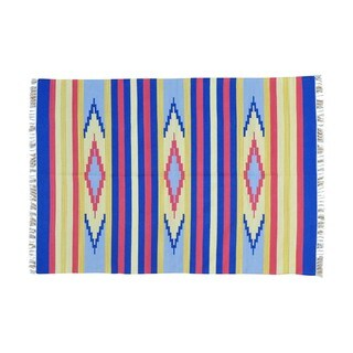 Flat Weave Hand-woven Design Reversible Killim Rug (5' x 7'1)