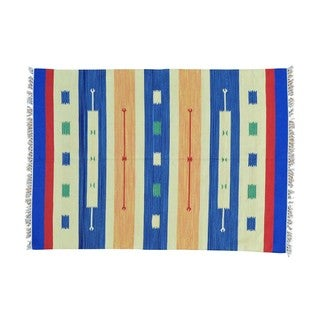 Flat Weave Hand-woven Reversible Killim Design Rug (5'1 x 7'1)