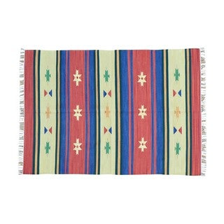 Flat Weave Hand-woven Reversible Kilim Design Rug (5' x 7'1)