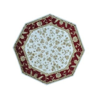 Wool and Silk Octagonal Rajasthan Hand-knotted Rug (8'1 x 8'2)