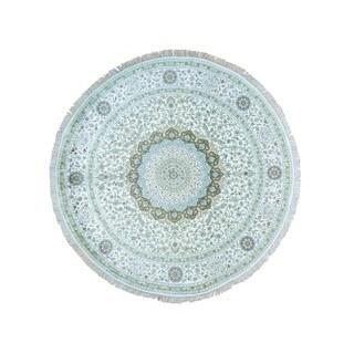 Silken Tabriz 300 KPSI Round Hand-knotted Oriental Rug (9'1 x 9'1)