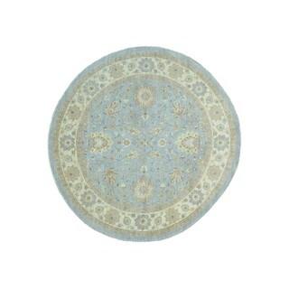 Wool Peshawar Round Hand-knotted Oriental Rug (9' x 9'1)