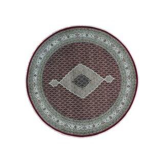 Wool and Silk Hand-knotted Round Tabriz Mahi 300 KPSI Rug (9'1 x 9'2)