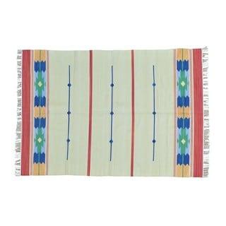 Flat Weave Kilim Reversible Hand-woven Southwest Design Rug (5' x 7')