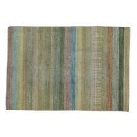 Wool Peshawar Gabbeh Striped Hand-knotted Oriental Rug (4' x 6')