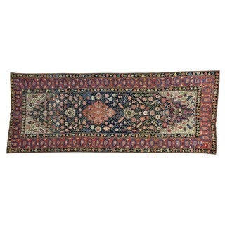 Gallery Size Antique Persian Kurdish Bidjar Handmade Rug (4'8 x 12')