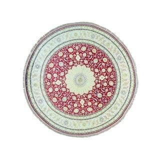 Hand-knotted Silken Tabriz 300 KPSI Round Oriental Rug (9'1 x 9'1)