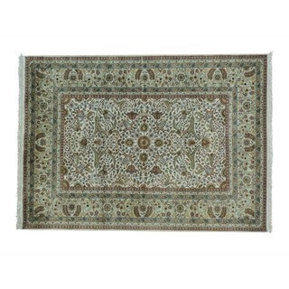 New Zealand Wool Tabriz Revival 300 KPSI Hand-knotted Rug (5'8 x 7'10)