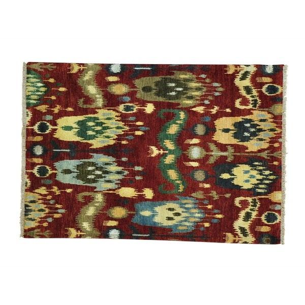 Ikat Uzbek Design Hand-knotted Wool Oriental Rug - 4'1 x 6'