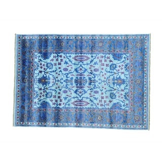 Sky Blue Silk From Bamboo Oushak Hand-knotted Oriental Rug (5'7 x 8')