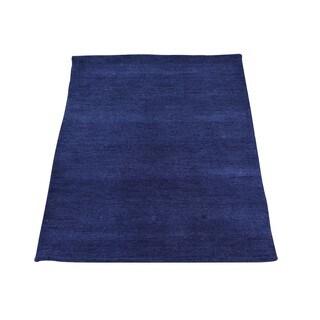 Navy Blue Wool Modern Loomed Gabbeh Oriental Rug (2' x 3')