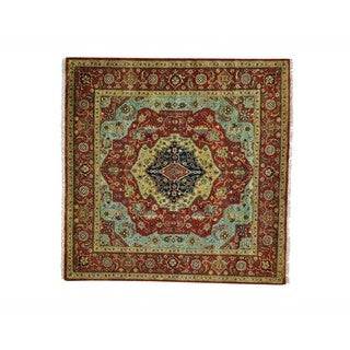 Wool Square Antiqued Heriz Recreation Handmade Rug (5'10 x 5'10)