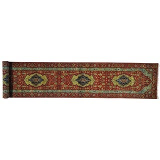 Wool Handmade Antiqued Heriz Recreation Runner Rug (2'7 x 14'1)