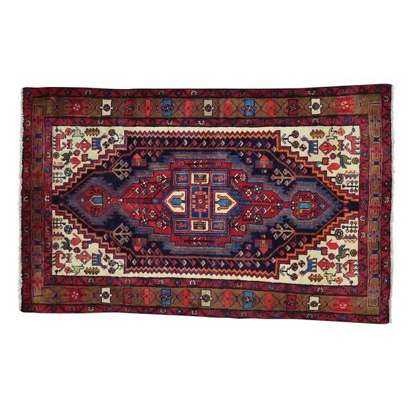 Wool Persian Nahavand Full Pile Handmade Oriental Rug - 4'1 x 6'7