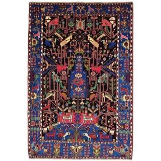 Pictorial Persian Nahavand Handmade Wool Oriental Rug (5'3 x 7'7)