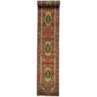 Handmade Antiqued Heriz Recreation XL Runner Rug (2'7 x 14'3)