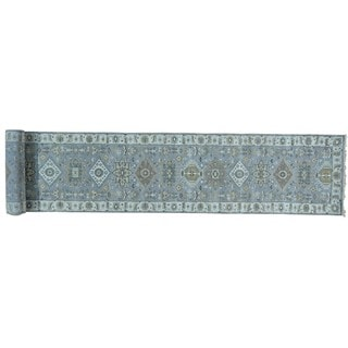 Silver Wash Wool Karajeh Hand-knotted XL Runner Rug (2'7 x 17'9)
