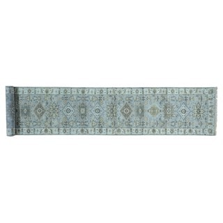 Wool Silver Wash Hand-knotted Karajeh XL Runner Rug (2'6 x 13'7)