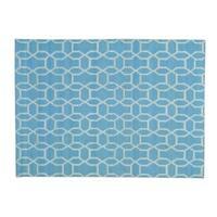 Sky Blue Hand-woven Reversible Flat Weave Kilim Rug (5'4 x 7'3)