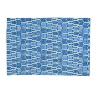 Denim Blue Hand-woven Kilim Reversible Flat Weave Rug (5'1 x 7'3)