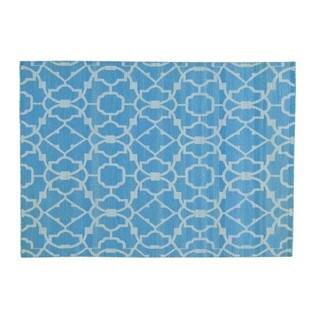 Sky Blue Reversible Kilim Oriental Flat Weave Hand-woven Rug (5' x 7')