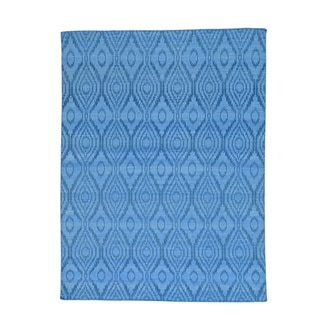 Sky Blue Hand-woven Reversible Flat Weave Kilim Rug (5'3 x 7'10)