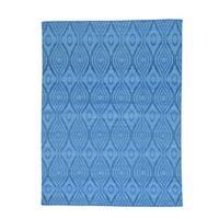 Sky Blue Hand-woven Reversible Flat Weave Kilim Rug (5'3 x 7'10)