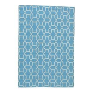 Sky Blue Reversible Flat Weave Kilim Hand-woven Rug (5'4 x 7'9)