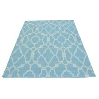 Sky Blue Hand-woven Flat Weave Reversible Kilim Rug (3'8 x 5'4)