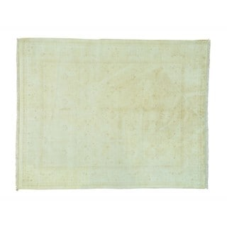William Morris Design White Wash Hand-knotted Wool Rug (8' x 10')