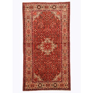 Hand-knotted Wool Rust Traditional Oriental Hosseinabad Rug (5'5 x 10')