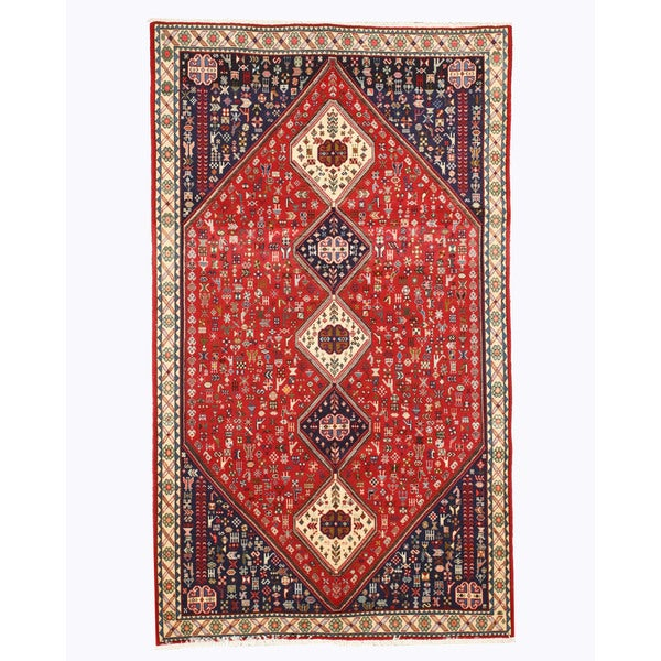 Hand Tufted Traditional Oriental Red Wool Rug With Non: Shop Hand-knotted Wool Red Traditional Oriental Abadeh Rug