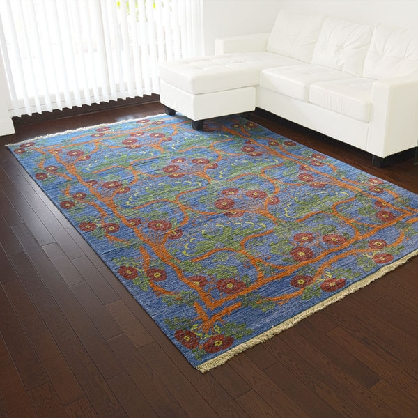 Denim Blue Silk From Viscose from Bamboo Arts and Crafts Handmade Rug (5'10 x 8'8)