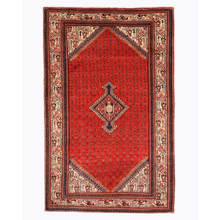 Hand-knotted Wool Red Traditional Oriental Saraband Rug (4'5 x 6'11)