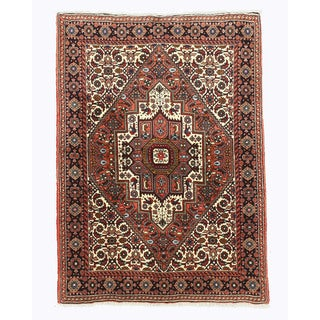 Hand-knotted Wool Rust Traditional Oriental Bidjar Rug (3'4 x 4'8)
