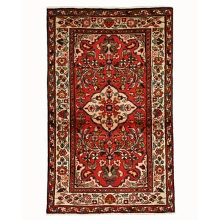 EORC Hand Knotted Wool Red Borchelou Rug (3'5 x 5'6)