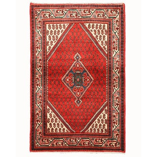 EORC Hand Knotted Wool Red Hamedan Rug (3'5 x 5'5)