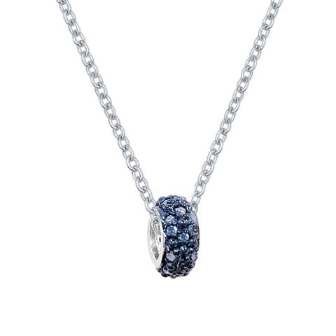 Sterling Silver 1/5ctw Blue Diamond Pave Charm Necklace