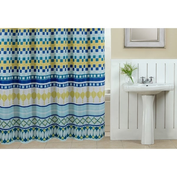 13-piece Colorway Printed Fabric Shower Curtain with Roller Hooks