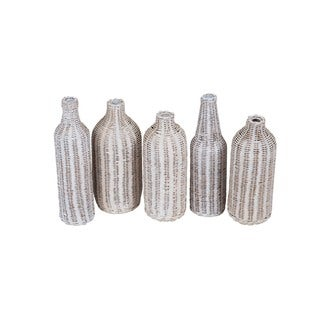 Bailey White Assorted Woven Bottle (Set of 5)