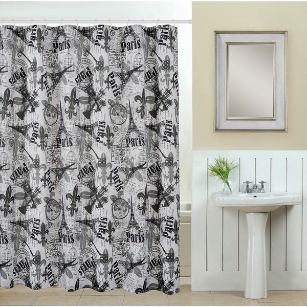 13-piece Paris Printed Fabric Shower Curtain with Roller Hooks