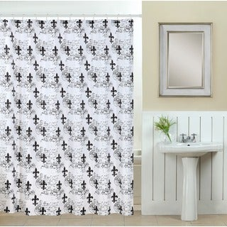 13-piece Fluer Di Lis Printed Fabric Shower Curtain with Roller Hooks