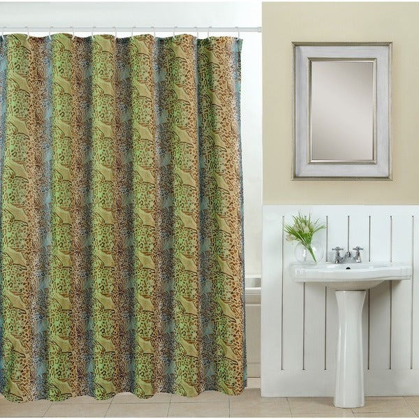 13-piece Wildlife Printed Fabric Shower Curtain with Roller Hooks
