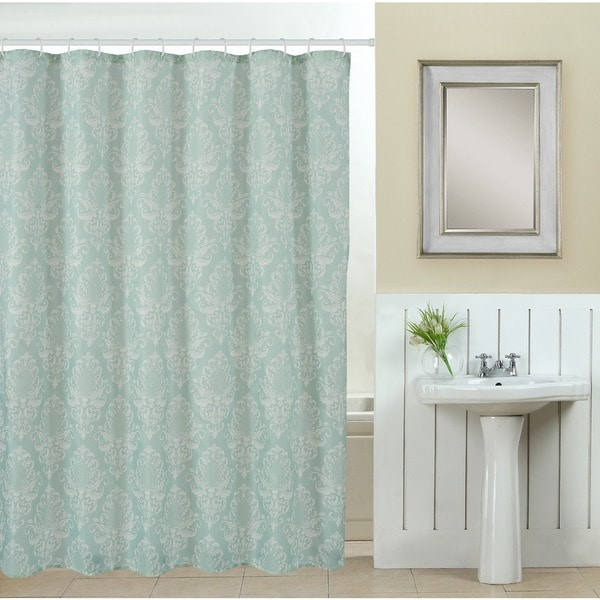 Shop 13 Piece Elegance Printed Fabric Shower Curtain With Roller Hooks    Free Shipping On Orders Over $45   Overstock   11067312