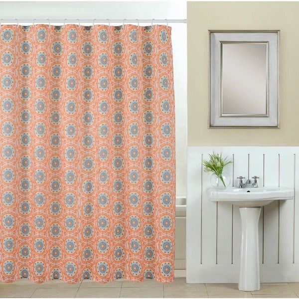 13-piece Suzani Printed Fabric Shower Curtain with Roller Hooks