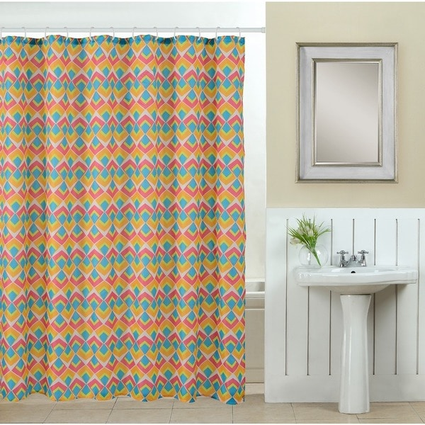 13-piece Abstract Printed Fabric Shower Curtain with Roller Hooks