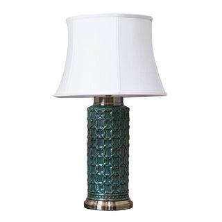 Somette Green Geometric Porcelain Table Lamp