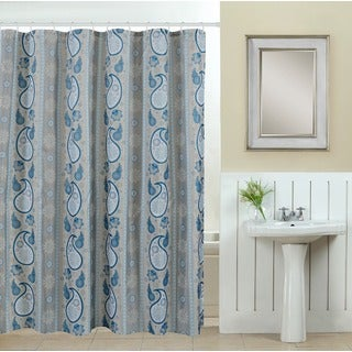 13-piece Spa Printed Fabric Shower Curtain with Roller Hooks