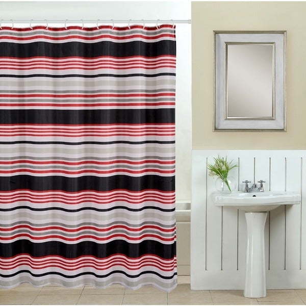 13-piece Deco Printed Fabric Shower Curtain with Roller Hooks
