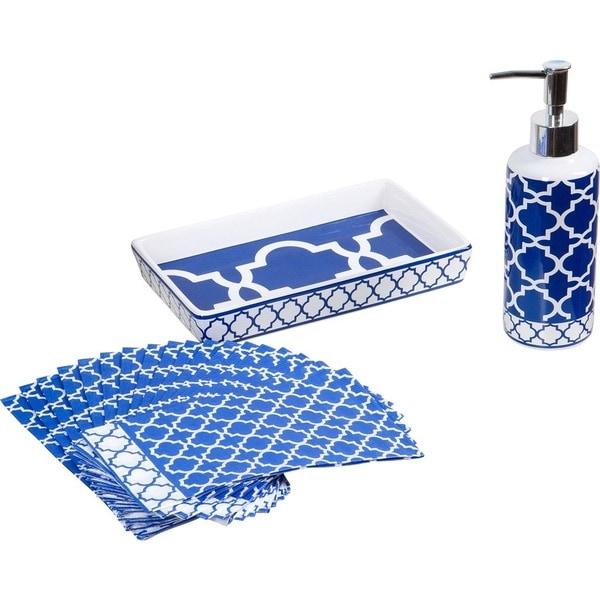 20-piece Blue Lattice Guest Napkin Set